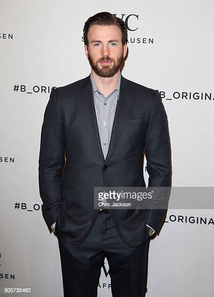 Chris Evans visits the IWC booth during the launch of the Pilot's Watches Novelties from the Swiss luxury watch manufacturer IWC Schaffhausen at the...