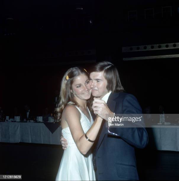 Chris Everett and Jimmy Conners tennis champions engaged to marry dancing at Wimbledon Ball Dorchester Hotel July 1972