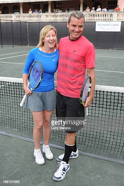 Chris Evert and Gavin Rossdale participate in 2013 Chris Evert ProCelebrity Tennis Classic Media Access at Boca Raton Resort on November 15 2013 in...