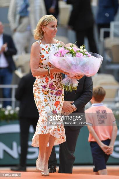 Chris Evert attends the 2019 French Tennis Open - Day Fourteen at Roland Garros on June 08, 2019 in Paris, France.
