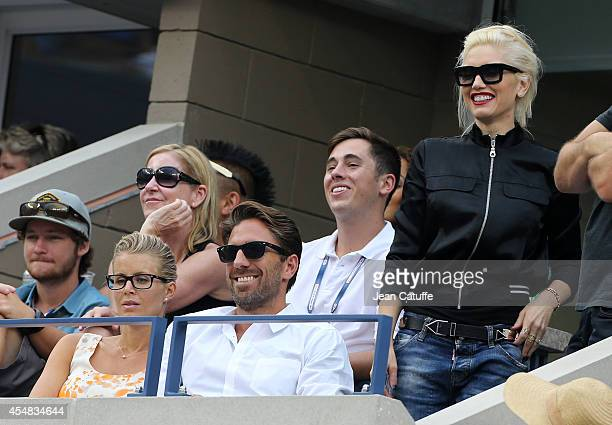 Chris Evert Henrik Lundqvist and his wife Therese Andersson Gwen Stefani attend the men's semi finals during Day 13 of the 2014 US Open at USTA...