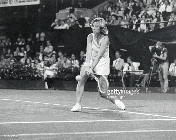 Chris Evert hits a backhand circa 1970s