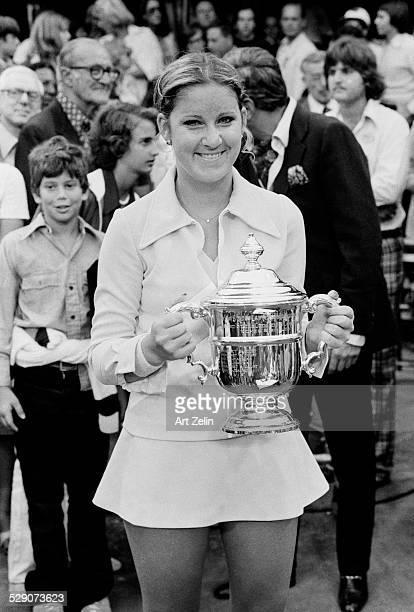 Chris Evert holding a trophy after a match circa 1960 New York