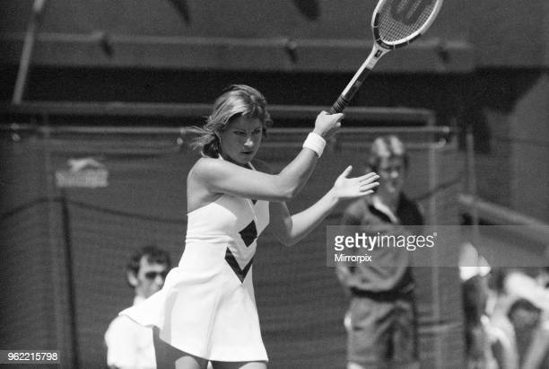 Chris Evert in fourth round action at Wimbledon Tennis Championships, Thursday 24th June 1976.