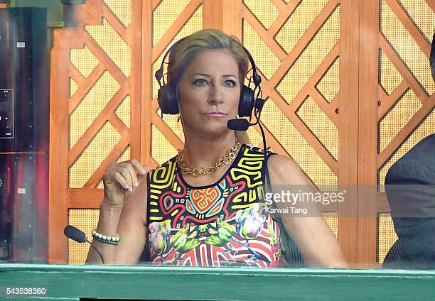 Chris Evert in the commentary box on day three of the Wimbledon Tennis Championships at Wimbledon on June 29 2016 in London England