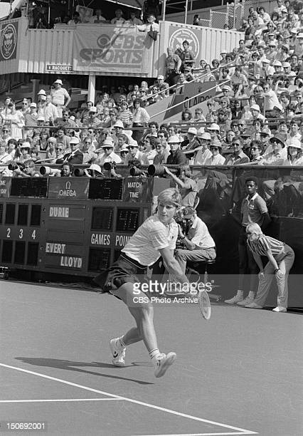 Chris Evert in the semifinals of the 1983 US Open tennis tournament playing against Jo Durie at the National Tennis Center in Flushing Queens NY