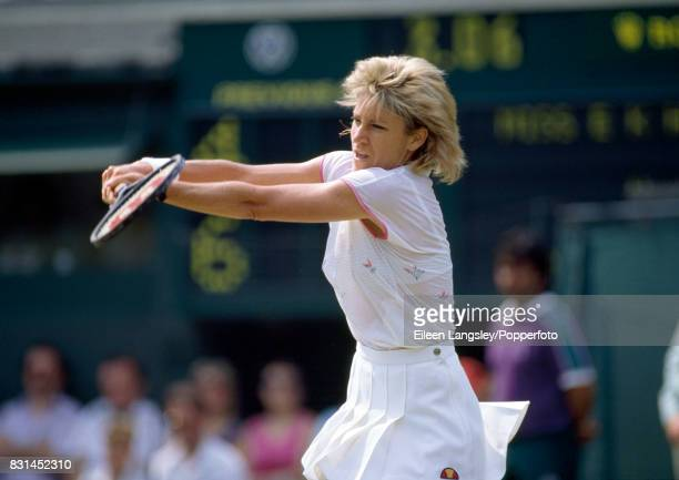 Chris Evert Lloyd of the USA during a women's singles match at the Wimbledon Lawn Tennis Championships in London circa July 1986 Evert was defeated...
