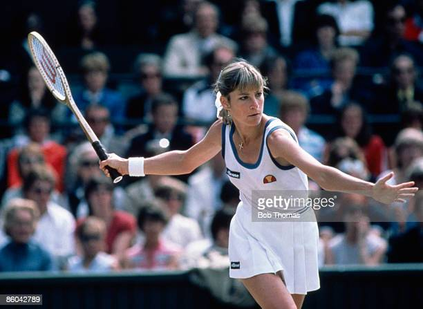 Chris Evert Lloyd of the USA during the Ladies Singles Final at the Wimbledon Lawn Tennis Championships held in London England during July 1982