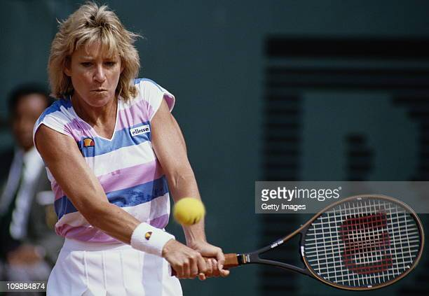 Chris Evert of the United States during a Women's Singles match at the French Open Tennis Championship on 1st June 1988 at the Stade Roland Garros...