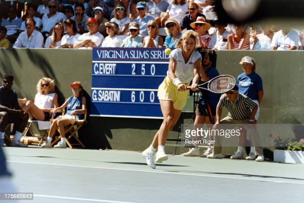 Chris Evert of the United States hits the backhand during her match agasint Gabriela Sabatini at the Virginia Slims of Los Angeles Open circa 1988 in...