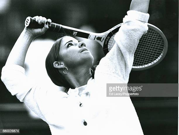 Chris Evert of the United States in action at Queens Club in west London 21st June 1972
