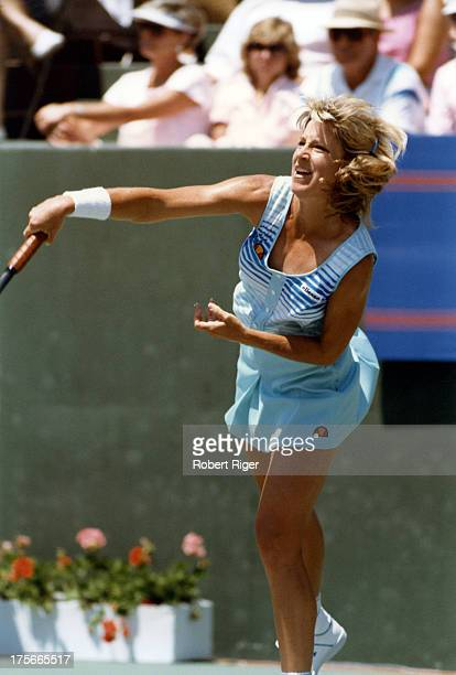 Chris Evert of the United States serves during a match at the Virginia Slims of Los Angeles Open circa 1988 in Los Angeles California Photo by Robert...