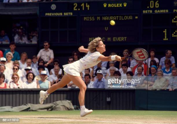 Chris Evert of the USA in action against Martina Navratilova of the USA in the Women's Singles SemiFinal of the Wimbledon Lawn Tennis Championships...