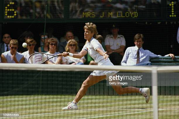 Chris EvertLloyd of the United States during her Women's Singles match against Carina Karlsson during the Wimbledon Lawn Tennis Championship on 3rd...
