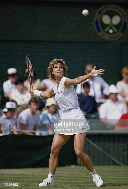 Chris EvertLloyd of the United States during her Women's Singles Finals match against Martina Navratilova during the Wimbledon Lawn Tennis...