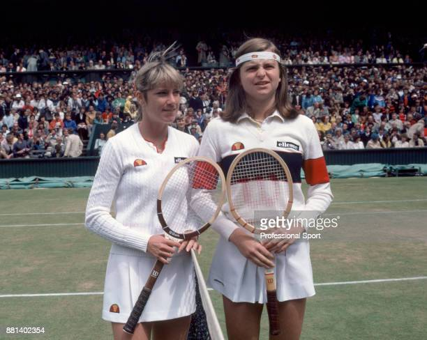 Chris EvertLloyd of the USA and Hana Mandlikova of Czechoslovakia pose together ahead of the Women's Singles Final of the Wimbledon Lawn Tennis...