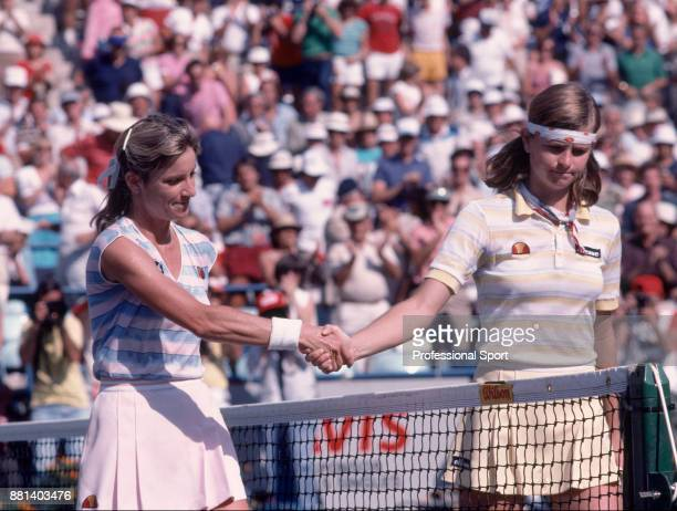 Chris EvertLloyd of the USA and Hana Mandlikova of Czechoslovakia shakes hands after the Women's Singles Final of the US Open at the USTA National...