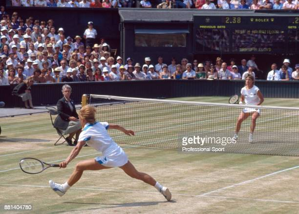 Chris EvertLloyd of the USA in action against Martina Navratilova of the USA during the Women's Singles Final of the Wimbledon Lawn Tennis...
