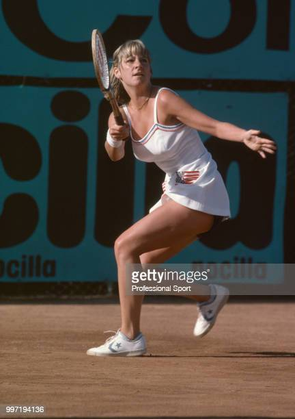 Chris EvertLloyd of the USA in action during the Federation Cup at the RSHE Club Campo in Madrid Spain circa May 1979