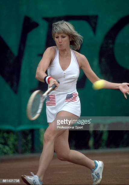 Chris EvertLloyd of the USA in action during the French Open Tennis Championships at the Stade Roland Garros circa May 1980 in Paris France