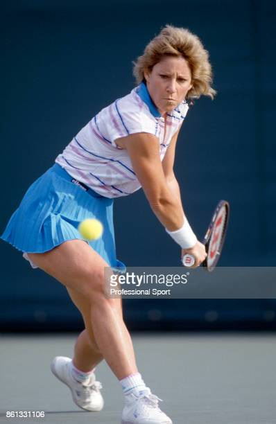 Chris EvertLloyd of the USA in action during the Lipton International Players Championships at the Tennis Center at Crandon Park in Key Biscayne...