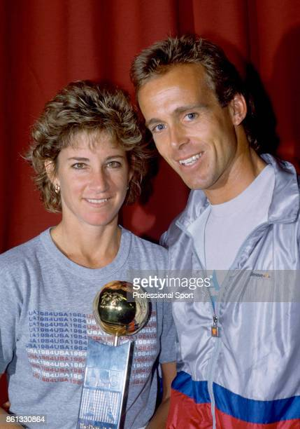 Chris EvertLloyd of USA poses with the trophy after defeating Manuela Maleeva of Bulgaria to win the Pretty Polly Classic tennis tournament at the...