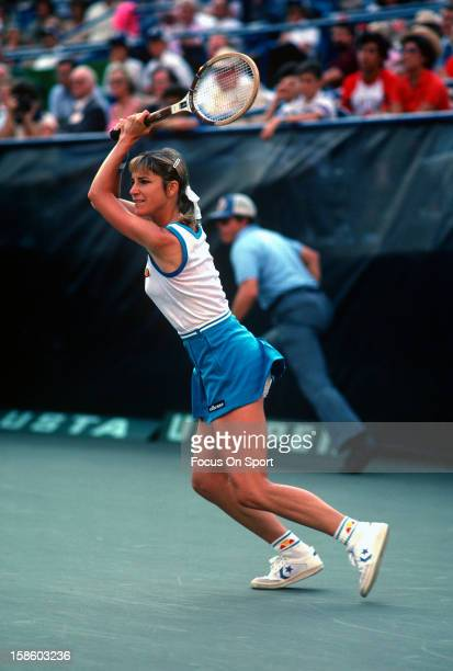 Chris EvertLloyd returns a shot during the Women's 1981 US Open Tennis Championships circa 1981 at the USTA Tennis Center in the Queens borough of...