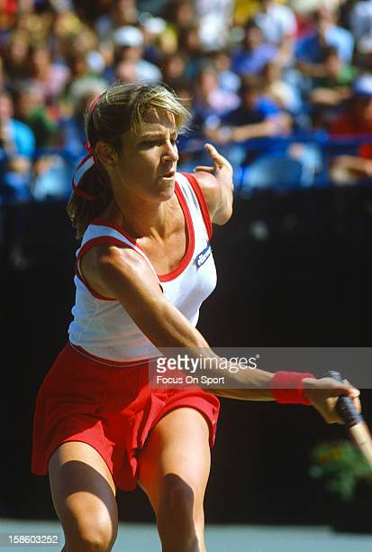 Chris EvertLloyd returns a shot during the Women's 1982 US Open Tennis Championships circa 1983 at the USTA Tennis Center in the Queens borough of...