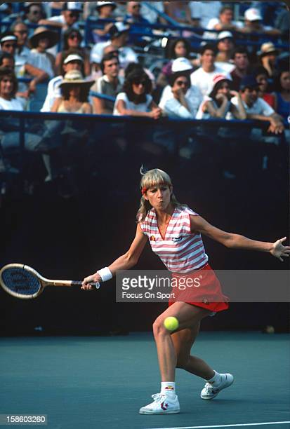 Chris EvertLloyd returns a shot during the Women's 1983 US Open Tennis Championships circa 1983 at the USTA Tennis Center in the Queens borough of...