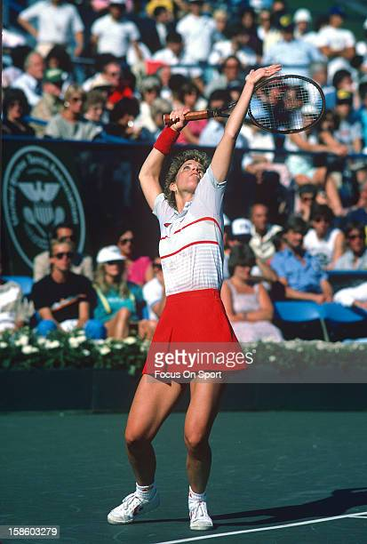 Chris EvertLloyd serves the ball during the Women's 1984 US Open Tennis Championships circa 1984 at the USTA Tennis Center in the Queens borough of...