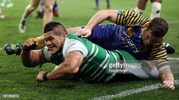 Chris Eves of Manawatu celebrates scoring a try which was the disallowed by referee Glen Jackson during the round six ITM Cup match between Otago and...