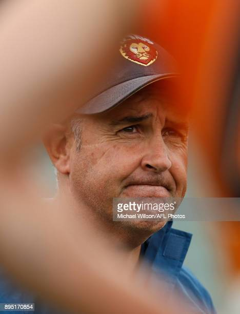 Chris Fagan Senior Coach of the Lions looks on during the Brisbane Lions AFL preseason training session at University of Tasmania Stadium on December...