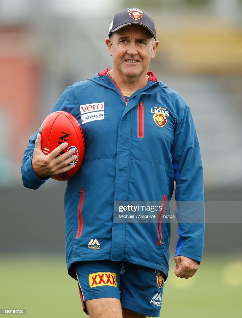 Chris Fagan, Senior Coach of the Lions looks on during the Brisbane Lions AFL pre-season training session at University of Tasmania Stadium on December 19, 2017 in Launceston, Australia.