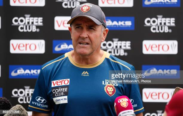 Chris Fagan Senior Coach of the Lions speaks with media during the Brisbane Lions AFL preseason training session at University of Tasmania Stadium on...