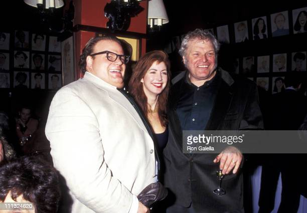 "Chris Farley, Dana Delany, and Brian Dennehy during Opening Night Party of ""Translations"" at Sardi's Restaurant in New York City, New York, United..."