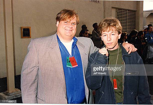 Chris Farley David Spade during 1993 MTV Movie Awards in Los Angeles California United States