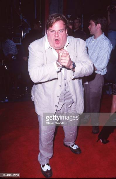 Chris Farley during Spawn Los Angeles Premiere at Mann Chinese Theatre in Los Angeles California United States