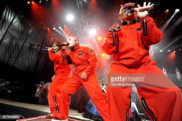 Chris Fehn Corey Taylor and M Shawn Crahan of Slipknot perform as part of the Rockstar Energy Mayhem Festival at Shoreline Amphitheatre
