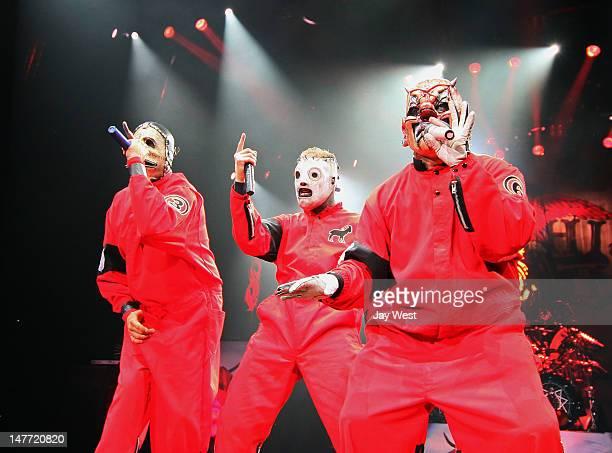 Chris Fehn Corey Taylor and Shawn Crahan of Slipknot perform in concert at 2012 Rockstar Energy Drink Mayhem Festival at Shoreline Amphitheatre on...