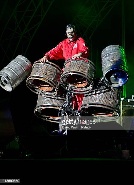 Chris Fehn from Slipknot performs at Sonisphere on July 8 2011 in Amneville France