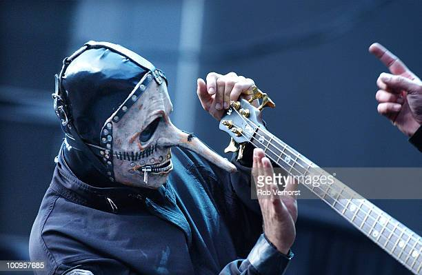 Chris Fehn of Slipknot performs on stage at the Amsterdam Arena on June 21st 2004 in Amsterdam Netherlands