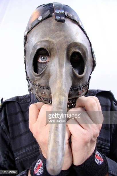 Chris Fehn of Slipknot poses for a studio portrait session backstage at the Download Festival Donington Park Leicestershire on June 13th 2009