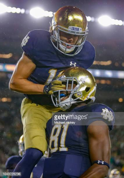 Chris Finke and Miles Boykin of the Notre Dame Fighting Irish celebrate a touchdown during the game against the Stanford Cardinal at Notre Dame...
