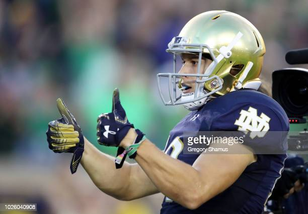 Chris Finke of the Notre Dame Fighting Irish celebrates his first quarter touchdown against the Michigan Wolverines at Notre Dame Stadium on...