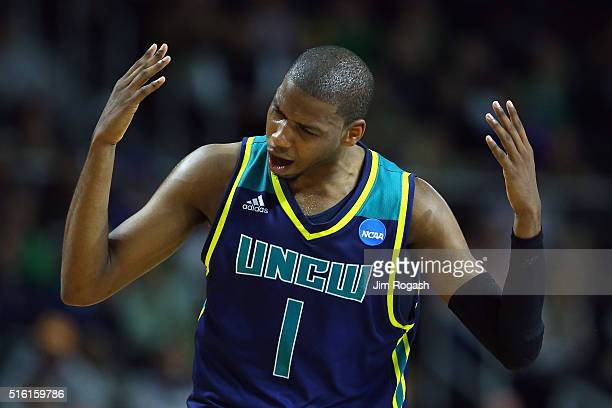 Chris Flemmings of the North CarolinaWilmington Seahawks reacts during the game against the Duke Blue Devils in the first round of the 2016 NCAA...