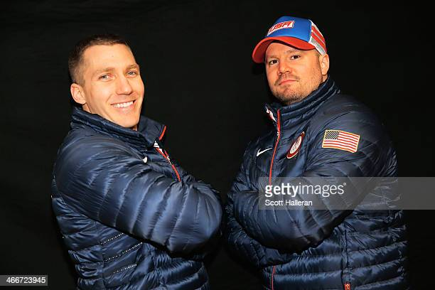 Chris Fogt and Steven Holcomb of the United States Bobsled team poses for a portrait ahead of the Sochi 2014 Winter Olympics on February 3 2014 in...