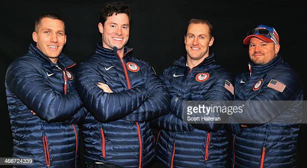Chris Fogt Steve Langton Curt Tomasevicz and Steven Holcomb of the United States Bobsled team pose for a portrait ahead of the Sochi 2014 Winter...
