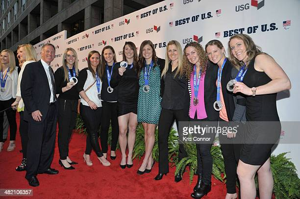 Chris Fogt Steven Holcomb Curt Tomasevicz and Steve Langton walk the red carpet during the US Olympic Committee's Best of US Awards at Warner Theatre...