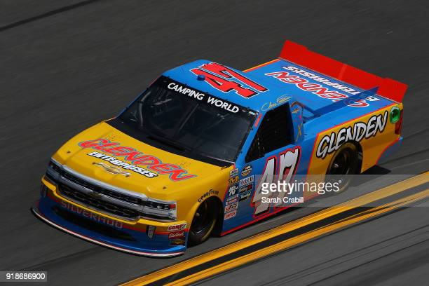 Chris Fontaine driver of the Glenden Enterprises Chevrolet practices for the NASCAR Camping World Truck Series NextEra Energy Resources 250 at...