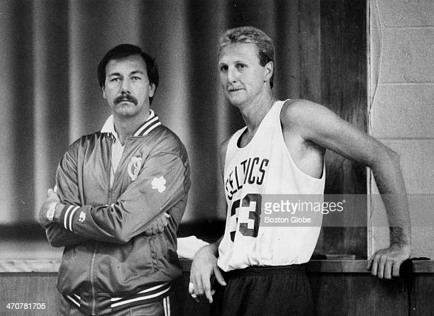 Chris Ford and Larry BIrd watch a practice game at Celtics rookie camp at Hellenic College in Brookline on Oct 4 1987